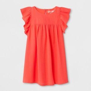 Spring Orange/Peach Dress Ruffle sleeve